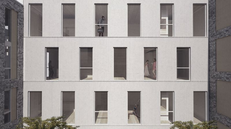 COURTESY: WAECHTER ARCHITECTURE AND JONES ARCHITECTURE  - One of the apartment buildings to be built of mass timber as part of Northbound Collaborative in Northwest Portland near Montgomery Park.