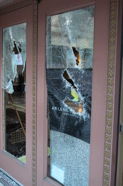 PAMPLIN MEDIA GROUP: JOSEPH GALLIVAN  - The doors of the Arlene Schnitzer Concert Hall after riots downtown on May 31, 2020.