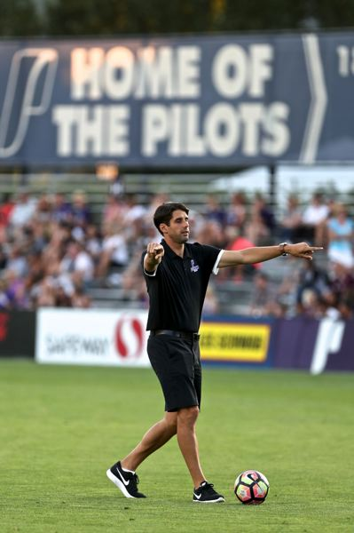 PMG FILE PHOTO: JAIME VALDEZ - Pilots men's soccer coach Nick Carlin-Voigt presumably will be coaching his team this year, as the University of Portland plans to have students enrolled in-person Aug. 17.