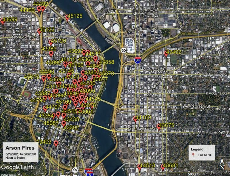 CITY OF PORTLAND - One of the maps showing the locations of many recent arson fires in Portland.