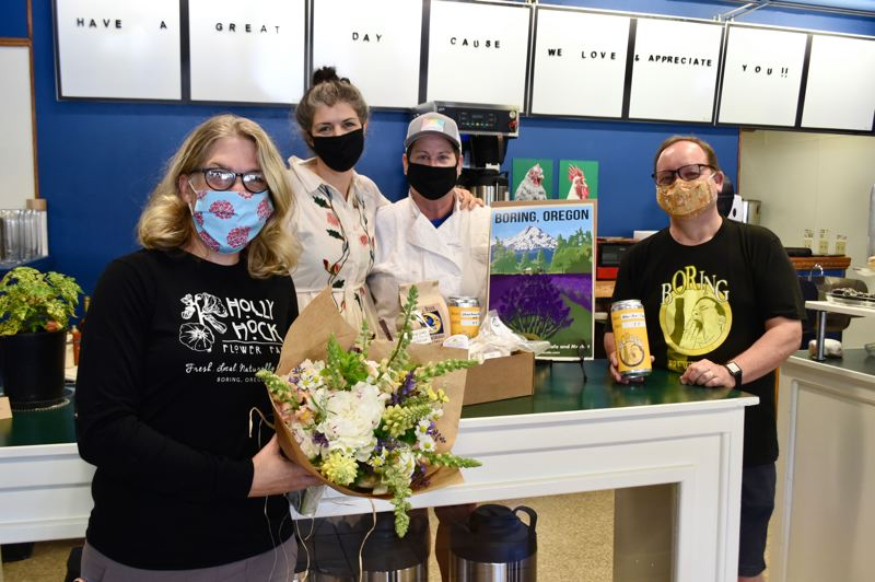 PMG PHOTO: BRITTANY ALLEN - Nicole Walker of Hollyhock Flower Farm, Serafina Palandech and Jennifer Johnson of A Boring Life, Bill Schwartz of Boring Brewing Co. and others have worked together to produce a locally sourced box of products.