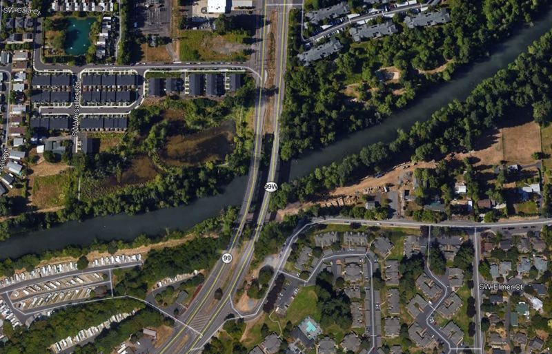 COURTESY PHOTO: OREGON DEPARTMENT OF TRANSPORTATION - An aerial view of where Highway 99W crosses the Tualatin River.