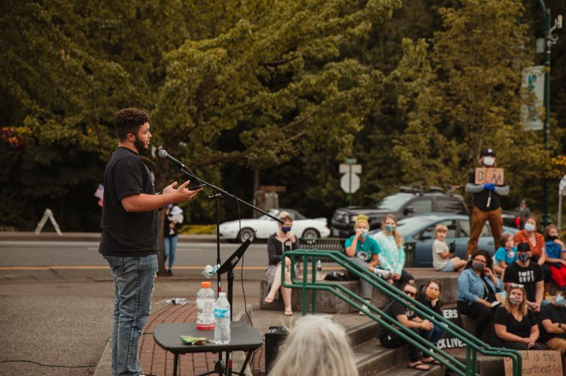 COURTESY PHOTO: REDFRED PRODUCTIONS - Sandy High alumnus Dillon Holliday speaks at the second march against racism in Sandy on June 14.