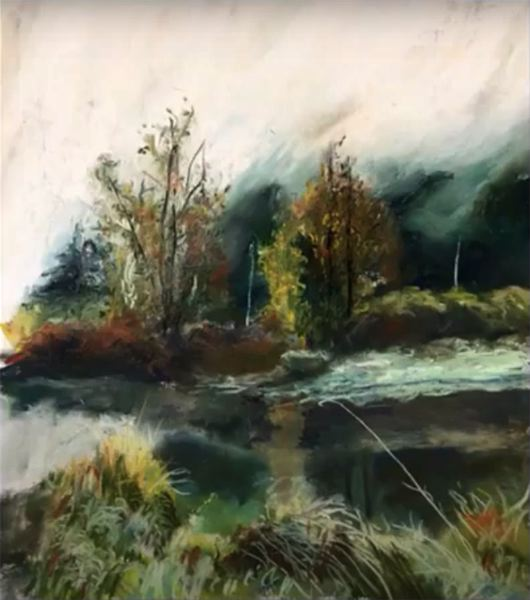 COURTESY PHOTO: COLUMBIA ARTS GUILD - 'Clatskanie Slough Morning Mist' is a pastel painted by Mary Duvall that was included in the Columbia Arts Guild's recent Spring Art Show.