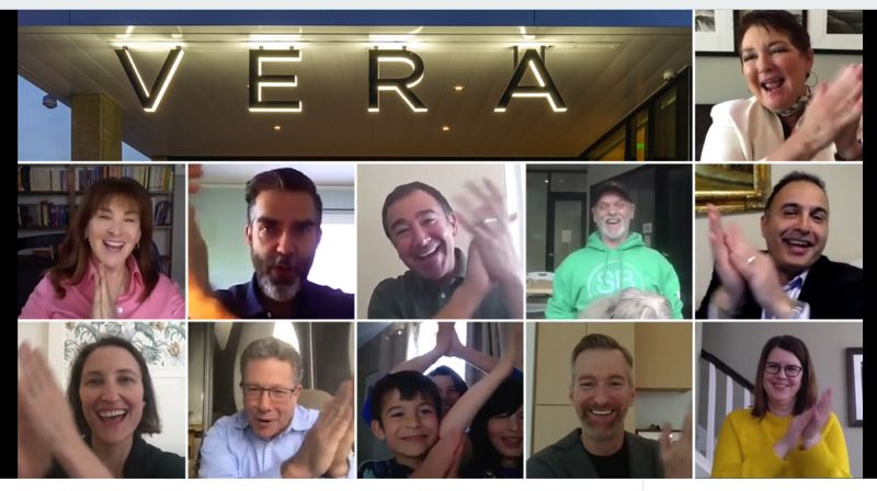 COURTESY: BRIDGE HOUSING/VIMEO - Stakeholders on a video conference cheer the opening of the Vera affordable housing project named for the former Portland mayor Vera Katz.