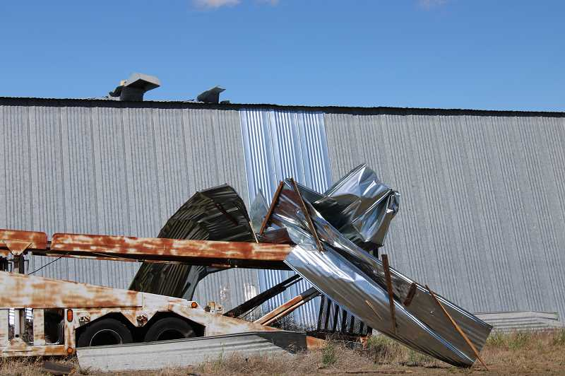 TERESA JACKSON/MADRAS PIONEER - Damage from a storm that ripped through Culver and Metolius May 30 won't be covered by state and federal aid. Private insurance companies say wind and hail damage are covered by many policies.