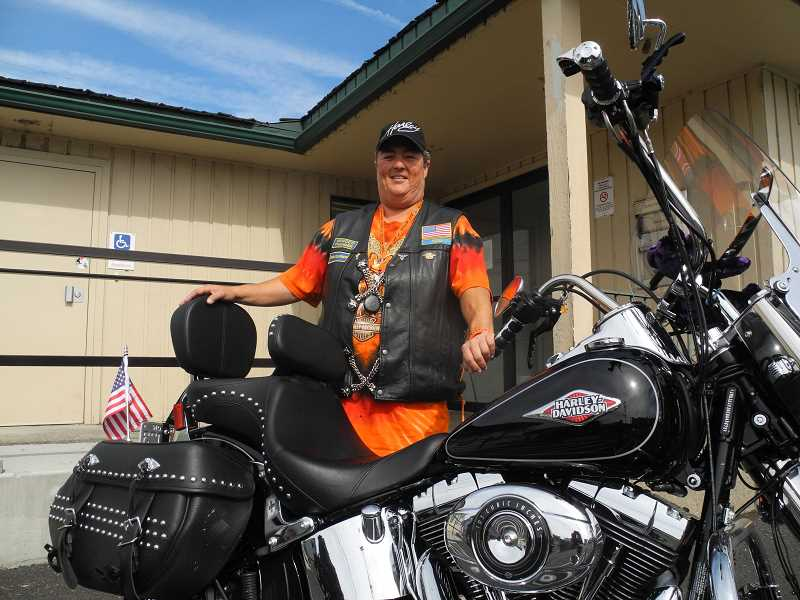 STEVE KADEL - Angie Gilley, of the Ochoco Thunder chapter of the Oregon Veterans Motorcycle Association, says new members are always welcome to join the Prineville group. The statewide organization is holding a ride to dedicate Highway 26 as a POW/MIA memorial highway.