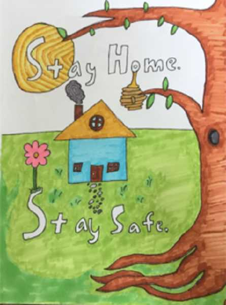 ARTWORK BY ALEX SMITH - Baker Prairie Middle School student Alex Smith reminds people of the common chime during the COVID-19 pandemic: 'Stay home. Stay safe.'