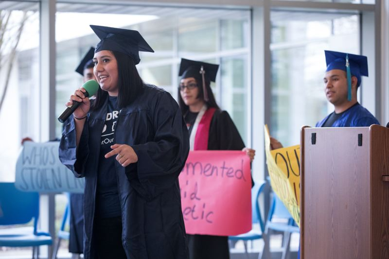 PMG FILE PHOTO - DACA recipient and PCC student Petrona Dominguez led an afternoon rally at the PCC Southeast campus in 2018.