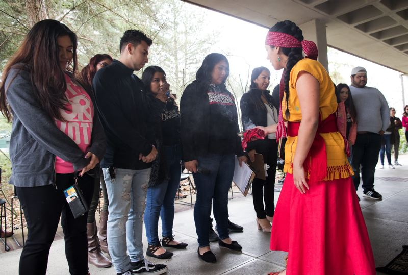 PMG FILE PHOTO: JAIME VALDEZ - Deferred Action for Childhood Arrivals (DACA) students take part in a 2018 ceremony before the opening of the DREAM Center at Rock Creek Campus Monday afternoon.