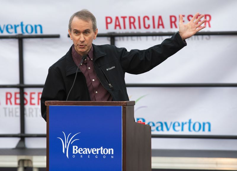 PMG FILE PHOTO - Beaverton City Councilor Marc San Soucie speaks at a groundbreaking ceremony downtown last November.