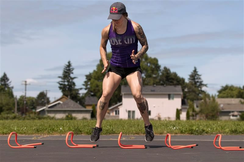 PMG PHOTO: JAIME VALDEZ - Rose City Rollers star Loren Mutch has found new ways to train during COVID-19.