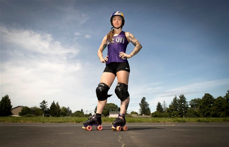 PMG PHOTO: JAIME VALDEZ - With her roller derby season on hold, Rose City Rollers star Loren Mutch has made time to learn about and advocate for racial equality.