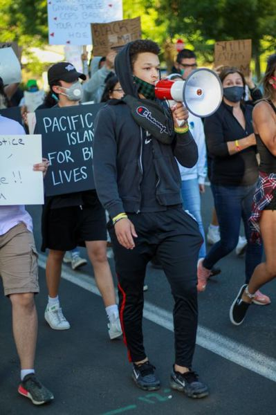 COURTESY PHOTO: BRENNAN HARTING - Jaylen Welch, who graduated from Gresham High School, leads a Black Lives Matter protest in Gresham on June 3.