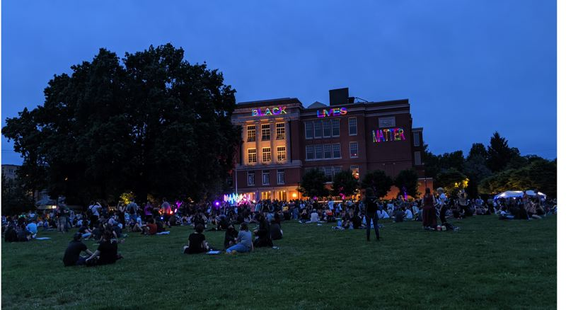 PAMPLIN MEDIA GROUP: JOSEPH GALLIVAN  - Rose City Justice organized a Juneteenth celebration with music and lights on Friday June 19, 2020. The Black Lives Matter gathering stayed the evening at Revolution Hall instead of marching across the city. For some Portlanders it was their first Juneteenth.