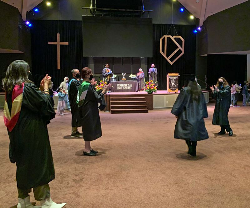 COURTESY PHOTO: GRESHAM-BARLOW SCHOOL DISTRICT  - Springwater Trail High School graduated 46 students in the class of 2020 on June 9, with proper social distancing