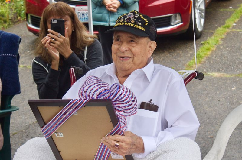 PMG PHOTO: CHRISTOPHER KEIZUR - Francisco Villavicencio was surprised with a membership to the Gresham VFW during his 100th birthday celebration Saturday, June 20.