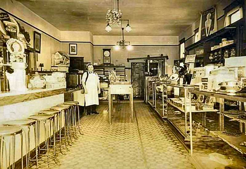 COURTESY OF LARRY CLARK - Interior view of the 1930s Sellwood Sweet Shop; it looked more like a fancy soda fountain. Beside candies and refreshments customers could also order light sandwiches, greeting cards, and even cigars and tobacco - along with souvenirs of Portland.