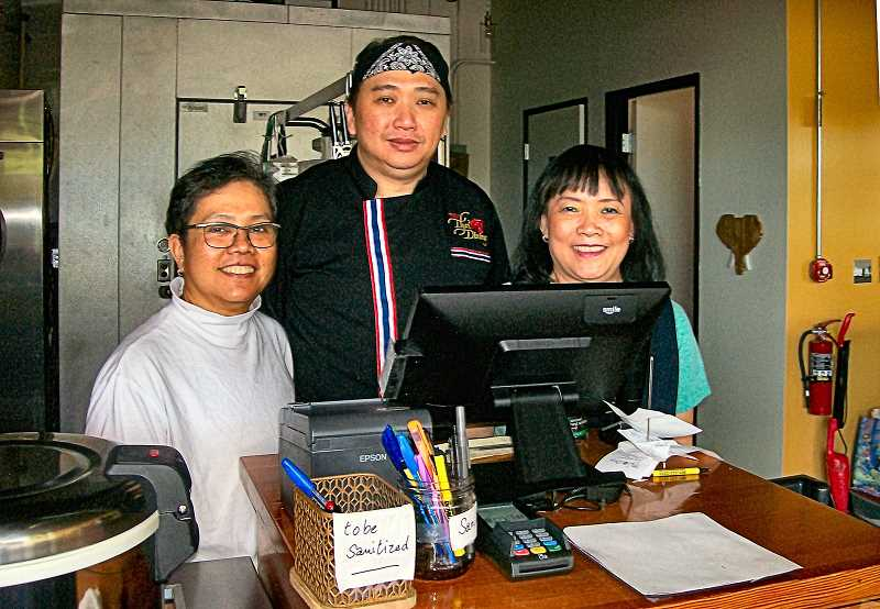 RITA A. LEONARD - This trio is, from left, the owners best friend from Thailand; Chef Charchrist Prompong; and the owner of the new Thai restaurant, Somjai Saejieng.
