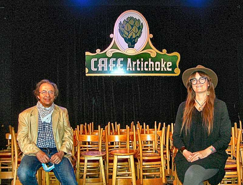 RITA A. LEONARD - At left is Bob Howard, Artichoke Musics Executive Director; at right is Artichokes new Director of House Productions, Lindsie Feathers Shepherd.
