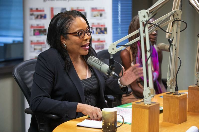 PMG FILE PHOTO - Loretta Smith makes a point during her joint Portland Tribune editorial board interview with Jo Ann Hardesty in 2018.