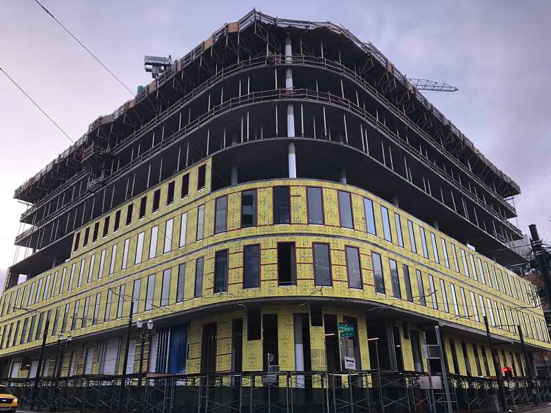 PMG PHOTO: STEPHANIE BASALYGA - Work continues to progress on the Fourth & Montgombery project in downtown Portland. Portland State University and Andersen Construction spoke out and vowed to investigate a noose found on the construction site in May.