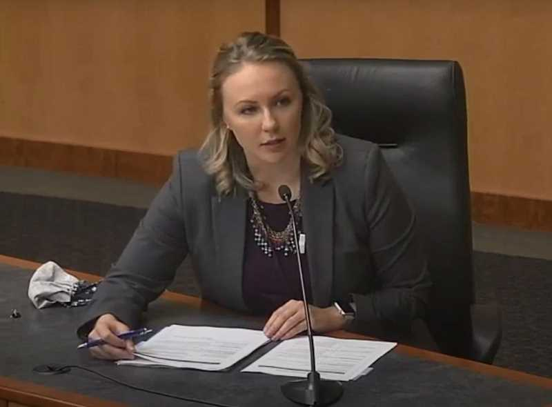 COURTESY OF MARION COUNTY - Marion County Public Health Director Katrina Rothenberger apprises the Board of Commissioners on countywide COVID-19 statistics during the Wednesday, May 6, meeting., Woodburn Independent - News