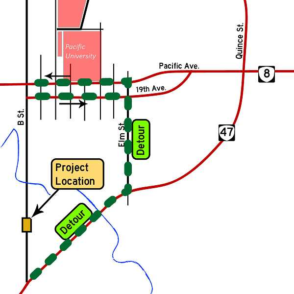 COURTESY PHOTO - B Street in Forest Grove will be closed between Stringtown Road and Gales Creek beginning July 6.