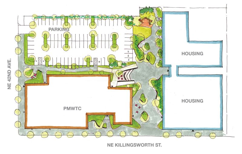 COURTESY: PLACE AND BORA ARCHITECTURE - The site plan for Portland Community College's current Portland Metro Workforce Training Center (PMWTC) in Northeast Portland. The affordable housing will be linked to the training center by a plaza. Although there is no formal connection between the people using the Metro Center to find jobs, training and education, PCC expects some overlap and synergies.