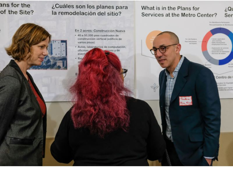 PHOTO: SEAN MCDONALD - At an open house in November 2019 for PCC's Portland Metro Workforce Training Center, Linda Degman, Pam Hester and Jonathan Trutt talk programming and design.