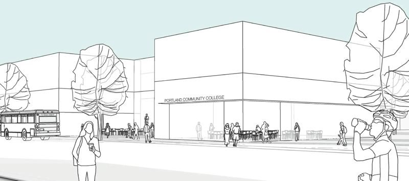 COURTESY: BORA ARCHITECTURE - An early drawing of Portland Community College's current Portland Metro Workforce Training Center (PMWTC) in Northeast Portland. People will be referred from the Department of Human Services to use the Metro Center to find jobs, training and education. The building will be made of mass timber to give a warm and welcoming feel for people who often don't feel welcome in higher education.