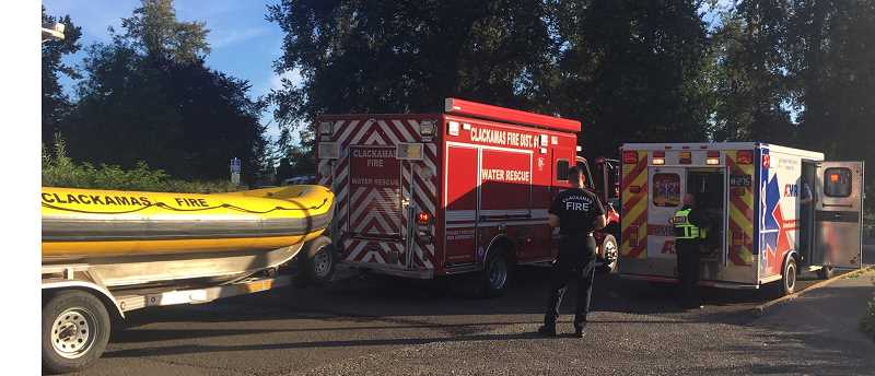 PHOTO COURTESY: CLACKAMAS FIRE - First responders started advanced life support, and the man was transported by a Clackamas County Sheriff's Office boat on June 23.