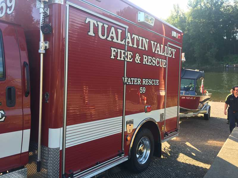 PHOTO COURTESY: CLACKAMAS FIRE - Clackamas County Swift Water Rescue Consortium members, including Tualatin Valley Fire & Rescue, responded to the Clackamas River.