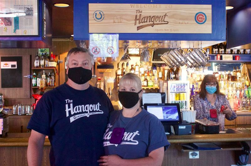 PMG PHOTO: CHRISTOPHER KEIZUR - The Hangout Sports Bar & Grill, 576 N.E. Burnside Road in Gresham, was happy to be open again and used the downtime to spruce up the space.