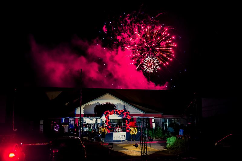 COURTESY PHOTOS: KAREN HAWLEY - Corbett High Schools June 20 graduation ended with a bang — a Cardinal red fireworks display.