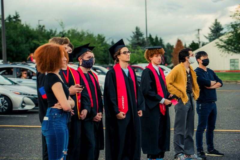 COURTESY PHOTOS: KAREN HAWLEY - Some graduating Corbett seniors and their pals wait for the action to start.