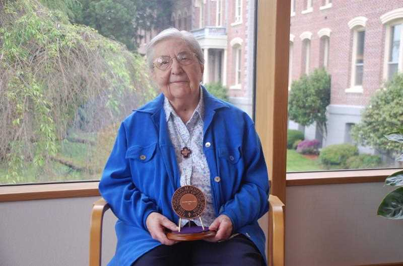 COURTESY PHOTO - Dieker was awarded the Christus Magister medal, the highest honor from University of Portland in 2019  for her lifetime service to the three central tenets of the University of Portland's mission – teaching and learning, faith and formation, and service and leadership.