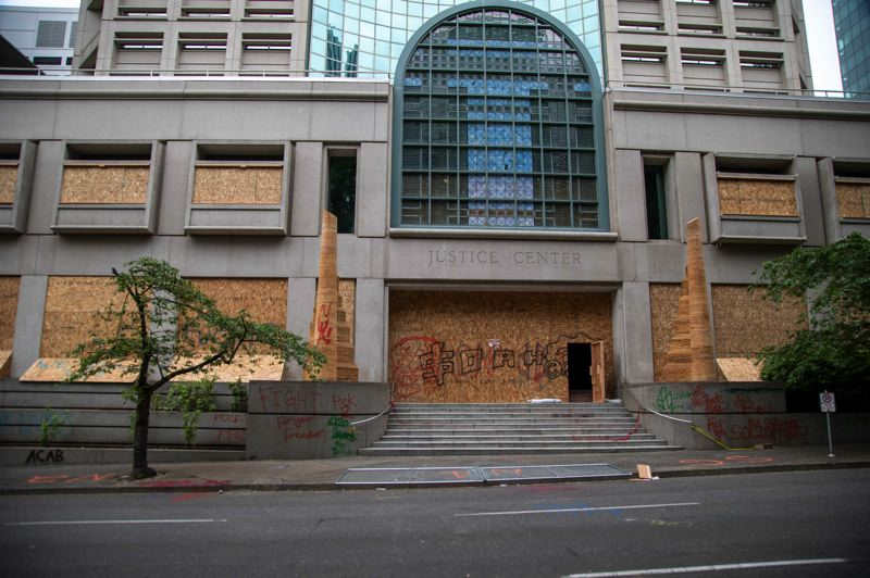 COURTESY MCSO - A recent picture of the Justice Center in downtown Portland.