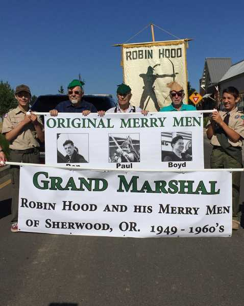 COURTESY OF SANDY WALLACE - In addition to being involved with Tigard activities for many years, Paul Herberholz was on of the founding members of Robin Hood and his Merry Men, a group that began the Robin Hood Festival in Sherwood in 1949. Herberholz and fellow surviving Merry Men, Don Scheller and Boyd Timbrel, were grand marshals of the 2017 Robin Hood Festival Parade.
