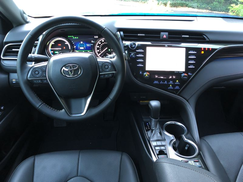PMG PHOTO: JEFF ZURSCHMEIDE - The top 2020 Camry XLE comes with the full option package that includes get a head-up display, navigation, a great JBL audio system, 360-degree camera system, adaptive cruise control, and the full Toyota Safety Sense-P suite of active safety features.
