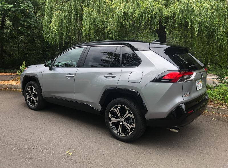 PMG PHOTO: JEFF ZURSCHMEIDE - The striking 2020 Toyota RAV4 Prime is an all-whee-drive vehicle because a second electric motor powers the rear wheels.