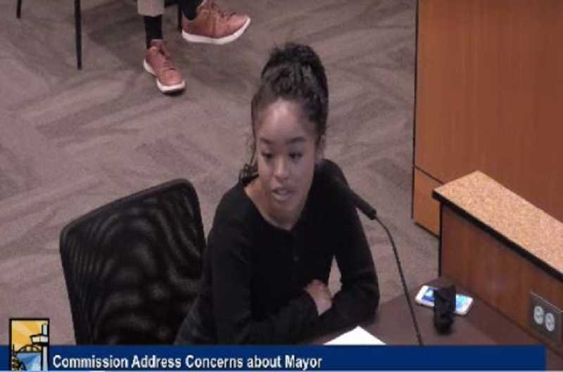 PMG PHOTO: RAYMOND RENDLEMAN - Oregon City High School junior Kylee Manning speaks about Mayor Dan Holladay during a June 17 commission meeting.