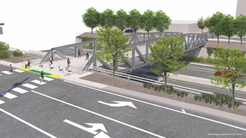 COURTESY: PORTLAND BUREAU OF TRANSPORTATION - The $9.5 million Flanders Crossing Bridge will be a 24-feet wide, 200 feet long bridge with two-way access for pedestrians and people on bikes across I-405 in the Pearl District.