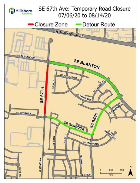COURTESY MAP: CITY OF HILLSBORO - Southeast 67th Avenue, highlighted in red, will close from July 6 to Aug. 14. A detour route is highlighted in green.