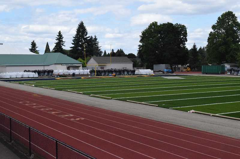 PMG FILE PHOTO: TANNER RUSS - Canby's new turf field nears completion in June 2019. After being closed since April due to the COVID-19 pandemic, the field reopens July 6 under strict rules.