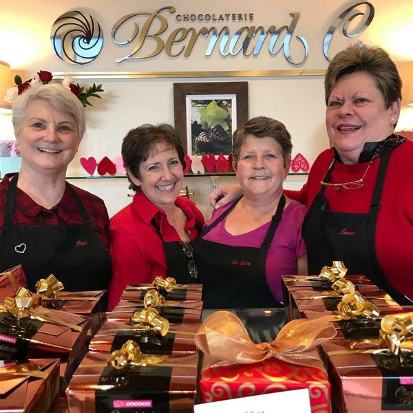 COURTESY PHOTO - Left to right: Patti Arndt, Linda Negrin, La Quita Corbett and Laura Adler at Chocolates by Bernard, which closed June 30.