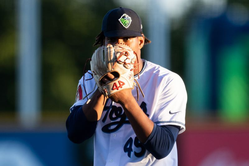 PMG FILE PHOTO - Hillsboro Hops pitcher Luis Frias during a game against the Salem-Keizer Volcanoes at Ron Tonkin Field on July 25, 2019.