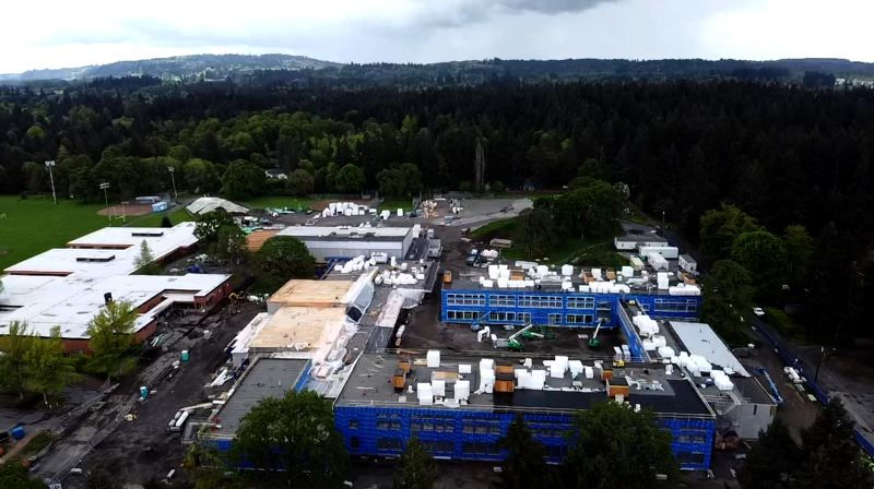SUBMITTED PHOTO: LAKE OSWEGO SCHOOL DISTRICT - An aerial view of Lakeridge Middle School bond progress as of May 2020