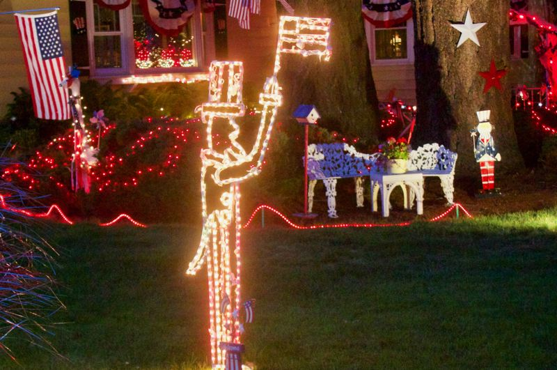 PMG PHOTO: CHRISTOPHER KEIZUR - One of the centerpiece decorations is Uncle Sam made of lights.