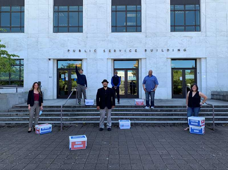 COURTESY PHOTO: MORE TREATMENT CAMPAIGN - The More Treatment advocates turned in more than 160,000 signatures in support of the Addiction Treatment and Recovery Act. The initiative to expand drug treatment options in Oregon qualified for the November ballot on June 30, 2020.